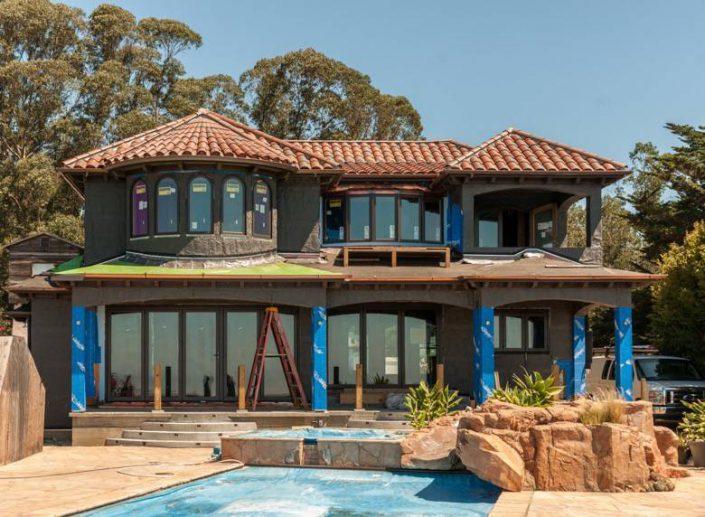 Golden Visions Design: Mediterranean style remodel project in framing stage, Santa Cruz