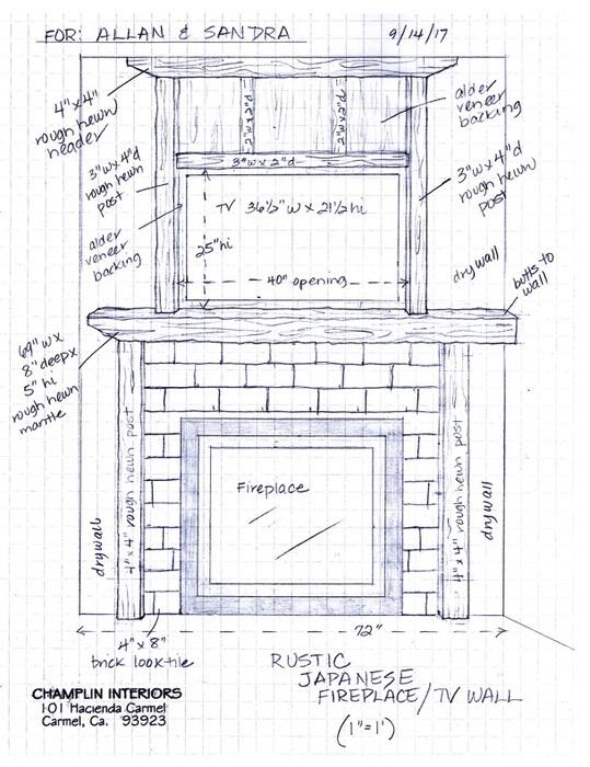 Champlin Interiors: Rustic Japanes Fireplace TV Wall