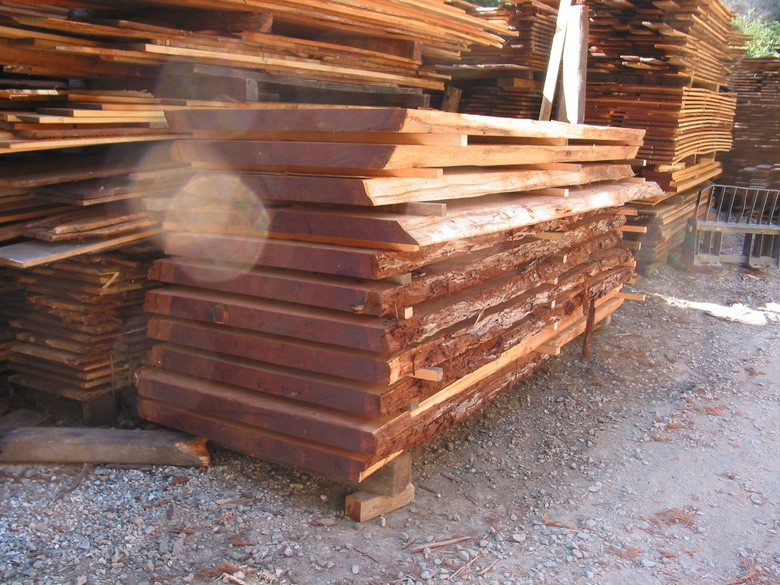 David Smith Redwood Portable Sawmill Redwood Slabs Stacked