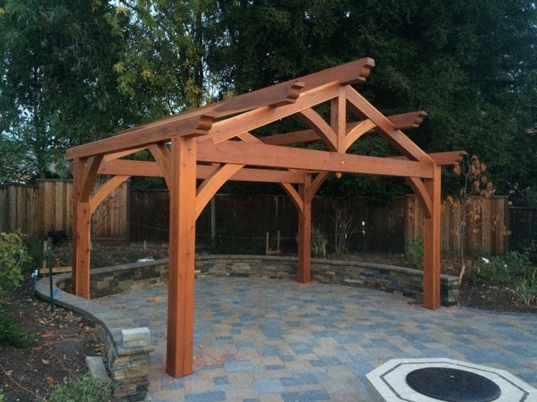 Santa Cruz Timberframes: Backyard patio frame. No metal brackets used, just wood to wood joinery.