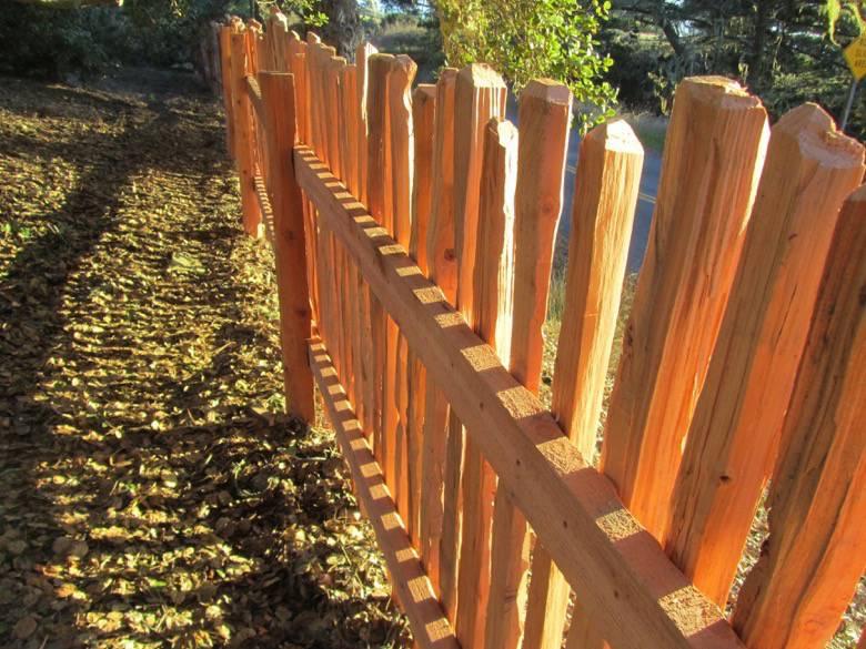 Santa Cruz Timberframes: Handsplit grapestake fence. Sustainably harvested Second growth SC mtn. redwood.