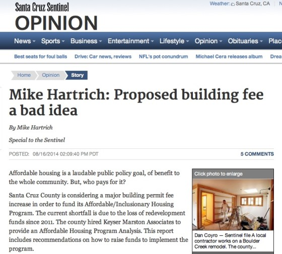 Mike Hartrich_ Proposed building fee a bad idea - Santa Cruz Sentinel