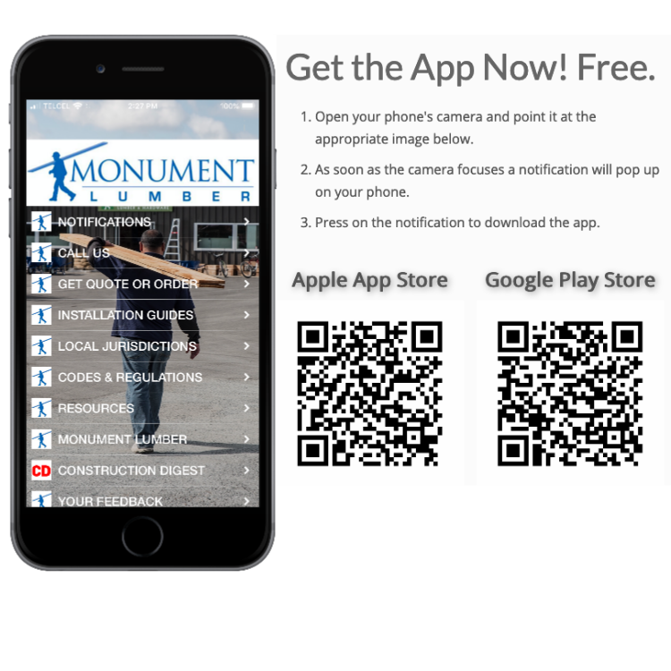 Monument Lumber App Download Instructions