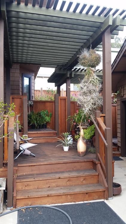 Outside The Box Builders - Kathleen & Jim Rio Del Mar. Custom decks, fences, railings, trellises & more. Built by Ray Newkirk & Mike Hartrich.