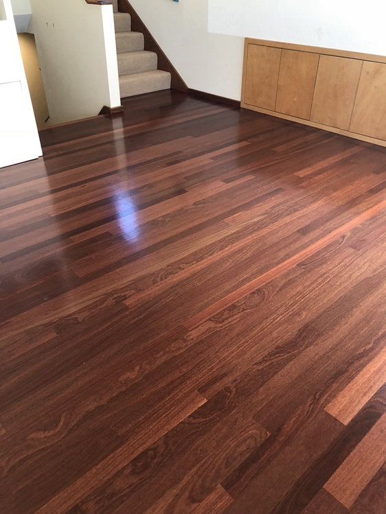 Samaya's Eco-Flooring: Sand and finished Santos Mahogany