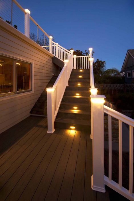 Santa Cruz Design + Build: deck stairs lighting