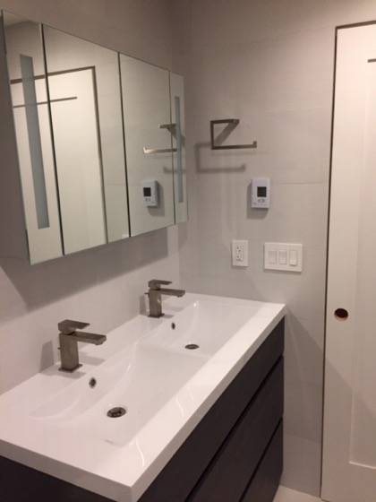 Ray Newkirk Outside The Box Builders: Kadubec custom bathroom by OTB Builders & Mike Hartrich Design Build with Euro fixtures, lighted medicine cabinet, electric warm floor, all tiled walls & more