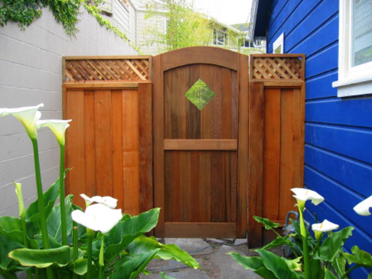 Willams Gate Works: archtop wood garden gate diamond detail – Santa ...